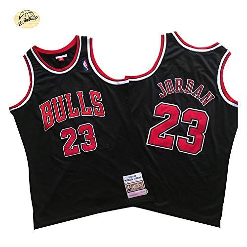 Camiseta de Baloncesto Michael Jordan Chicago Bulls, Camiseta Retro Bordado clásico n. ° 23 para Hombres, Sudadera Juvenil Transpirable de Secado rápido para Exteriores (S-2XL)-Black A-L