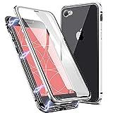 EATCYE Kompatible mit iPhone 6S/iPhone 6 Hülle (4,7 Zoll), Magnetische Adsorption Metallrahmen Hülle 360 Grad Komplettschutz mit Doppelseitig Gehärtetes Glas Transparente Displayschutzfolie (Silber)