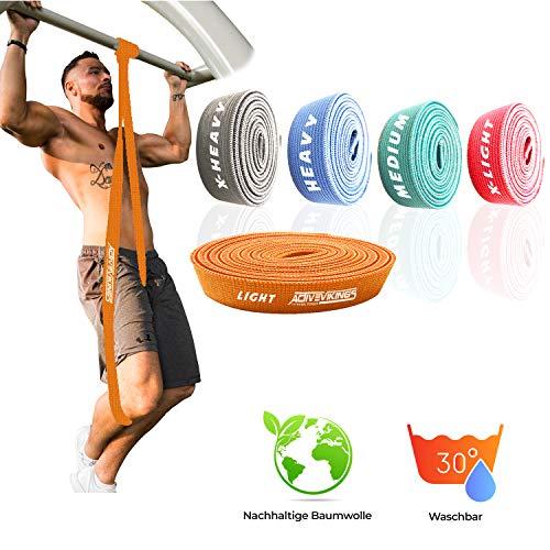 ActiveVikings® Pull-Up Stoff Fitnessbänder - Perfekt für Muskelaufbau und Crossfit Freeletics Calisthenics - Fitnessband Klimmzugbänder Widerstandsbänder (B - Orange (Light))