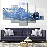 Cuadro sobre Impresión Lienzo 5 Piezas -Mural Moderno 5 Piezas,Lewis Hamilton Burn Out F1 AMG Dormitorios Decoración para El Hogar -No Tejido Lienzo Impresión- Modular Poster Mural-Listo para Colgar