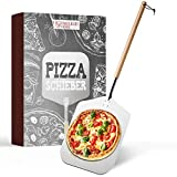 Engelhart & Söhne│Premium Pizzaschieber – Pizzaschaufel aus rostfreiem Edelstahl & Buchenholz – Extra langer Stab [83cm] – Abschraubbar – Pizzaheber Backofen – Mit Schlaufe – Pizza, Brot, Flammkuchen