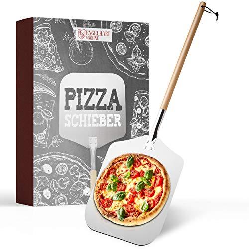 Engelhart & Söhne Pala para pizza de alta calidad, de acero inoxidable y madera de haya, varilla extralarga (83 cm), desenroscable, pala para pizza para horno, con correa, pizza, pan, tortitas