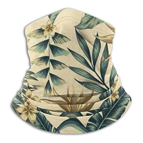Any Way Halsmanschette, Ohrwärmer Stirnband, Tropische Blätter und goldene Blumen fröhlich von Palmen, Kopfbedeckungen