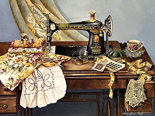 Pintura de diamantes 5D DIY máquina de coser de diamantes cuadrados de diamantes completos 60 × 50 cm bordado costura artesanía decoración kit de punto de cruz regalo
