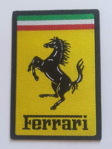 Centro Ricami Patch-Toppa Microricamata in HD/Jacquard (Alta Definizione) Rettangolare Ferrari Termoadesiva, Micro Filo, Dimensioni : H. cm. 4,5 x L. cm.6,5 - Made in Italy