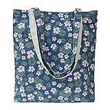 Tobeso Bolsos totes para mujer Bolso de compras reutilizable Bolsos de algodón Bolsas de supermercado ecológicas para mujeres (Azul-blanco flor)
