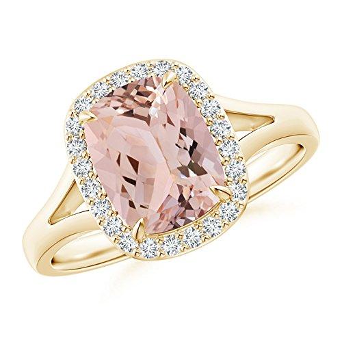 Angara.com  -  14 Kt  Gelbgold Halbmondschliff    Diamant Morganite