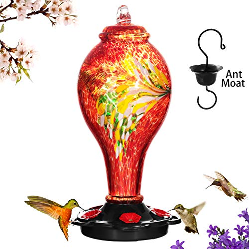 LUJII Hummingbird Feeders for Outdoors, Hand Blown Glass, Never Fade, 36 Fluid Ounces, 5 Feeding Stations, More Biger, Garden Backyard Decorative, Containing Ant Moat (Red)