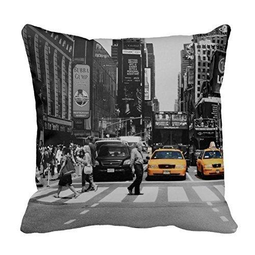 Henryoutletshop Coussin New York Taxi Y : 113 Coton Couvre-lit Taie d'oreiller carrée Coussin en 45*45 cm