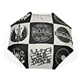 Travel Umbrellas Kids Set Monochrome Rock Roll Music Prints Windproof Compact Umbrella Adult Rain & Wind Resistant Compact and Lightweight For Business and Travels