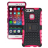 Heartly Flip Kick Stand Spider Hard Dual Rugged Shock Proof Tough Hybrid Armor Bumper Back Case Cover for Huawei Ascend P9 - Cute Pink