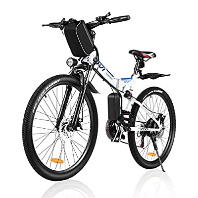 Electric Bike for Adults, VIVI Folding Electric Mountain Bicycle Adults 26 inch E-Bike 350W Motor Professional Shimano 21 Speed Gears with Removable36V 8Ah Lithium-Ion Battery