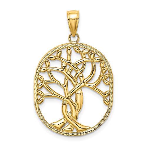 Albero della vita celtico in oro giallo 14 ct con cornice ovale da donna