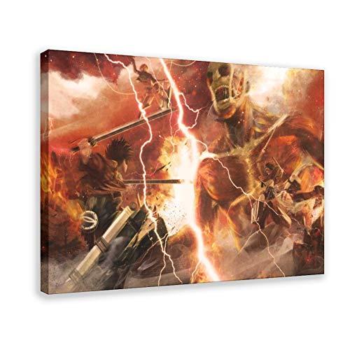 Poster Anime Attack On Titan Eren Jaeger Mi Kasa Ackerman 2 poster su tela di canapa decorazione da parete Quadro per soggiorno camera da letto decorazione cornice: 60 x 90 cm