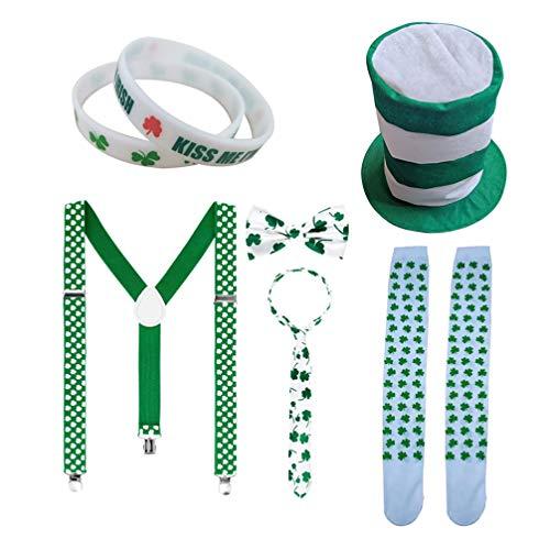 VALICLUD 7 Piezas St. Da de Patricks Conjunto de Disfraces Sombrero de Duende Pulseras Pajarita Tirantes Calcetines Accesorio de Cosplay Accesorio de Foto para Fiesta Irlandesa