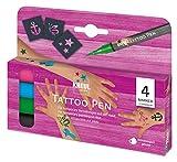 Kreul 62171 - Tattoo Pen Set, 4 Stifte und 3 Schablonen, Kosmetiktinte auf Wasserbasis, hält bis zu...