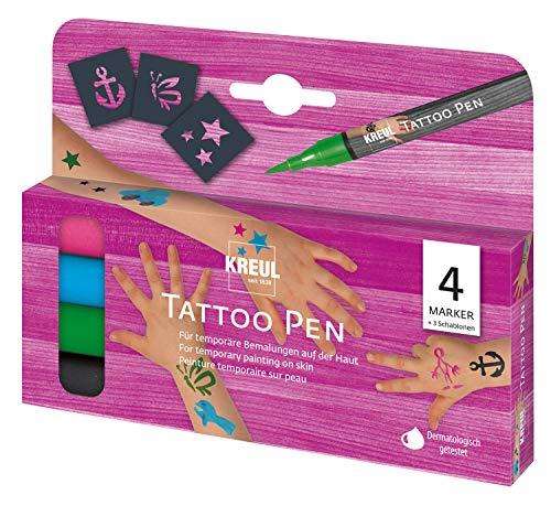 Kreul 62171 - Tattoo Pen Set, 4 Stifte und 3 Schablonen, Kosmetiktinte auf Wasserbasis, hält bis zu 5 Tage, dermatologisch getestet, auswaschbar ab 30°C aus den meisten Textilien
