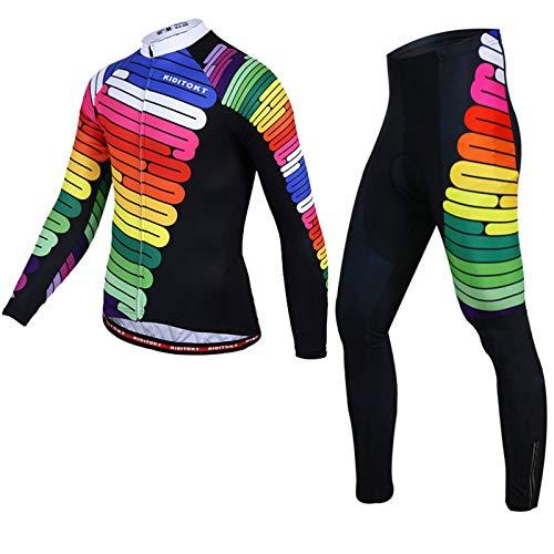 Herren Langarm Radsportanzüge Radtrikot Set MTB Radfahren Kleidung Langärmeliges Fahrradtrikot Atmungsaktiv Elastische Schnell Trocknend mit 3D Gel Sitzpolster Men's Cycling Suit QC-3,ZX7,XL