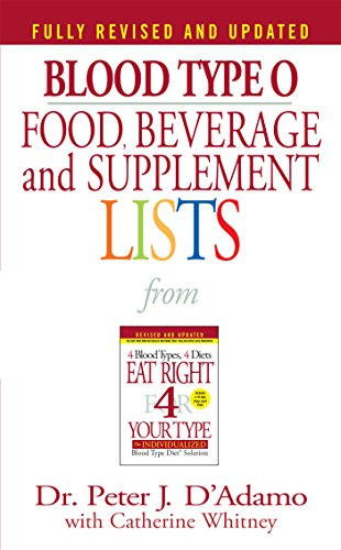 Compare Textbook Prices for Blood Type O Food, Beverage and Supplement Lists Eat Right 4 Your Type Berkley Books 2002 Edition Edition ISBN 8601400258705 by Peter J. D'Adamo,Catherine Whitney