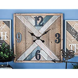 Deco 79 94628 Metal and Wood Wall Clock, 19 x 19, Brown/Black/White/Pink/Blue