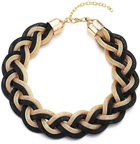 Ahuyongqing Co.,ltd Statement Necklace Black Gold Braided Hollow Cable Large Bib Choker Neck Prom Dress