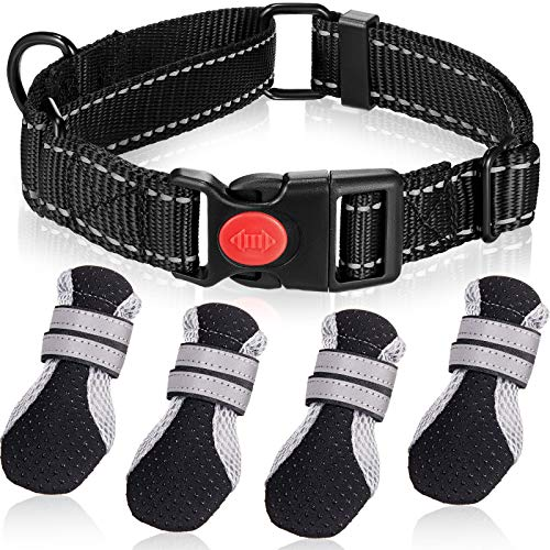 5 Pieces Pet Nightwalk Reflective Set Include Reflective Dog Collar with Safety Locking Buckle and Puppy Breathable Soft Nonslip Mesh Boots with Reflective Straps for Small Medium Large Pets (Medium)