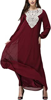 Women's Casual Flowy Formal Loose Round-Neck Beach Maxi Dress, Long Sleeve Cocktail Gown (Color : Red, Size : 6XL)