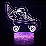 JJIEZZ 3D Night Light Ice Hockey Player Lampada USB Sonno Illuminazione Sport Decor-Interruttore a sfioramento_J