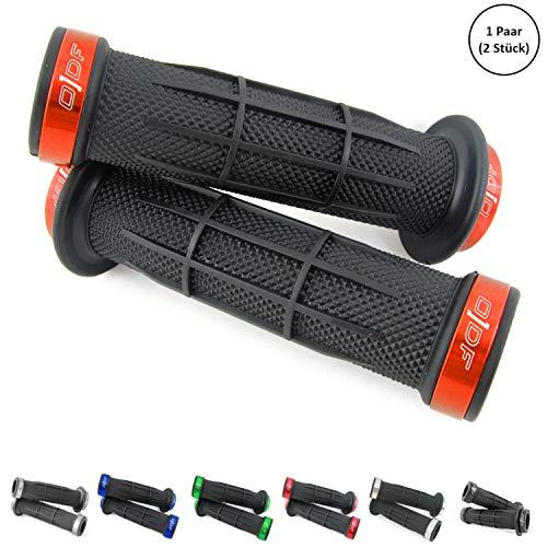 Universal Fahrradgriffe, E-Bike Lenkergriffe/Quad Griffe/ATV Griffgummis 2 x 22mm (Stripe) (Orange)