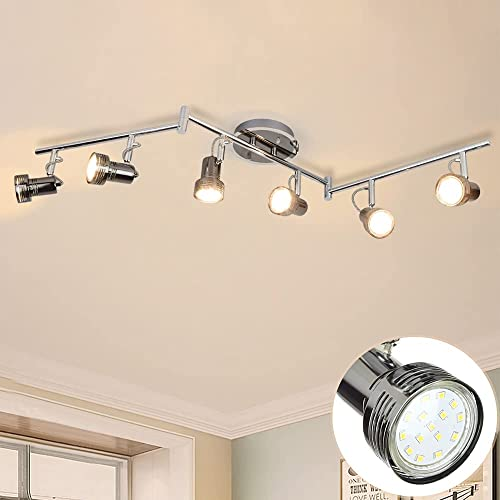 wholesale Depuley Modern 6-Light Led Track 2021 Lighting Fixtures, Directional Kitchen Ceiling Spotlight, high quality Flush Mount Foldable Track Light Kit for Living Room Dining Room Office, Rotatable Heads, Swing Arms outlet online sale