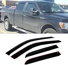 VioletLisa Front + Rear Smoke Sun/Rain Guard Vent Shade Window Visors for 09-14 Ford F-150 SuperCrew/Crew Cab 4pcs