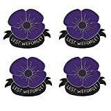 4Pcs/Set Lest We Forget Lapel Poppy Brooch Pin Purple Flower Broach Memorial Day Remembrance Day Gifts