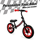 ISD Kids Balance Bike for Boys & Girls Personalizes Your Bike with Your Name, Push Bike for Toddlers, and up to Five-Year-Olds. (Black Red)