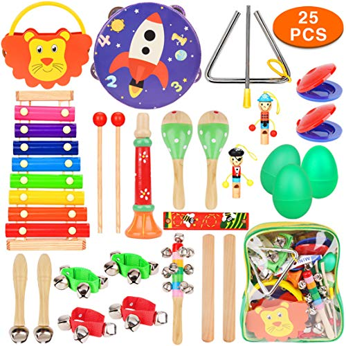 DIY House Baby Musical Instruments Wooden Toy Education Rhythm Percussion Instruments Gift Set for Children Babies Toddlers Kids Early Learning Musical Toys Set with Storage Backpack ¡