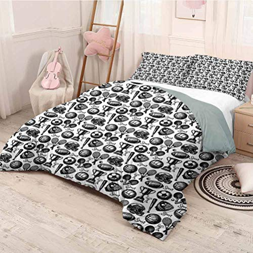 HELLOLEON Sport Extra Large Quilt Cover Monochrome Trophy Baseball Glove Ping Pong Ball Sketch Style Bat Tournament Inspired Can be Used as a Quilt Cover-Lightweight (Queen) Black White