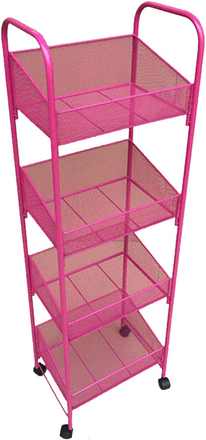 Serving Trolley Cart Mobile Metal Moisture Proof Universal Wheel 4 Tier Storage, Carrying Capacity 15 Kg, 3 colors (color   Pink)