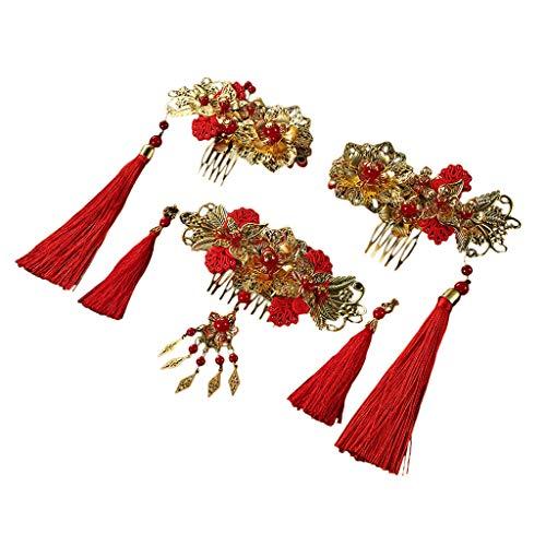 IYHENZ Rot Kristallen Braut Haarschmuck Gold Haarkämme Hochzeit Kristallen Handgefertigt Haarnadeln Haarschmuck Chinesisch Kostüm Brautkopfschmuck Brautkleid Zubehör Set (1 Set, Rot)