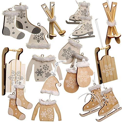alles-meine.de GmbH 10 TLG. Deko Set -  Winter & Weihnachten - Ski / Schlittschuhe / Schlitten - aus Holz - Miniatur / Diorama - Anhänger - Weihnachtsdeko / Winter - Winterurla..