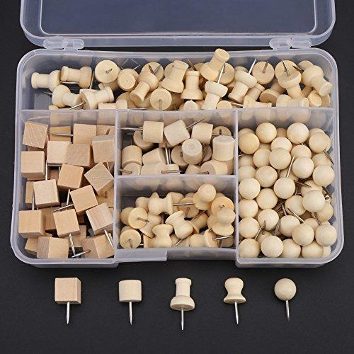 Push Pins, Nautral Wooden Pushpin Map Push Pins Thumb Tacks for Map Marking, DIY, Arts and Crafts Project – 180pcs