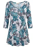 Nandashe Career Tops for Women, Juniors Shirts Criss Cross V Neck Floral Print Front Pleated Round Hem Relaxed Fit Casual Blouse Blue Flower Medium