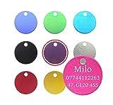 Targhetta circolare rotonda anodizzata diam. 22 mm con anello, per animale domestico cane, gatto, personalizzabile con incisione