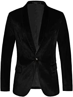 Sponsored Ad - THWEI Mens Velvet Blazer Slim Fit Solid Blazer Sport Coat