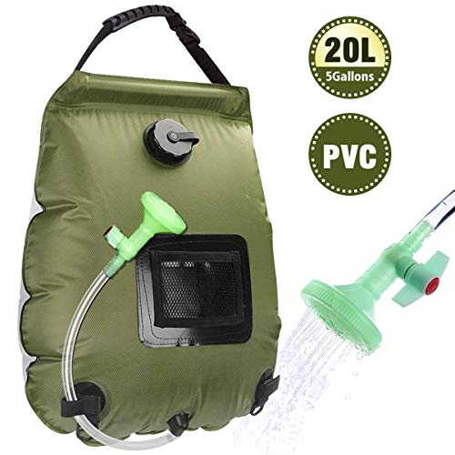 Beaucares Solar Shower Bag,5 Gallons/20L Portable Heating Camp Shower Bag with with Removable Hose and On-Off Switchable Shower Head for Camping Beach Swimming Outdoor Traveling Hiking