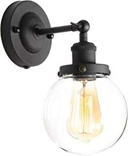 XIDING Edison Wall Sconce Retro Industrial Simplicity Style, Premium Black Finish Vintage Wall Lamp, Wall Light Fixture with Adjustable Arm Angle, Classical Globe Hand-Made Clear Glass Shade