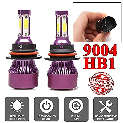 Car LED Headlight Bulbs - Fits Headlamp High Beam/Low Beam/Fog Light/DRL Replacement Kit With 4 Sides COB Chips High Power 12000LM/Bulb 24000LM/Pair