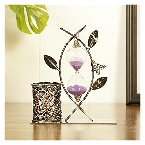 Reloj de arena de hoja de metal de doble propósito, reloj de arena dinámico de bronce europeo, artículos creativos para el hogar, habitación de los niños, reloj de escritorio (color al azar)