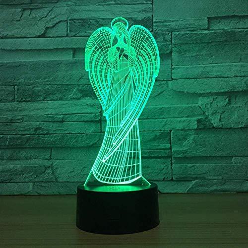 3DLED ilusión luz luz nocturna ángel óptico mesita de noche luz nocturna luz nocturna luz para niños luz para dormir 7 botones táctiles que cambian de color luz decorativa USB