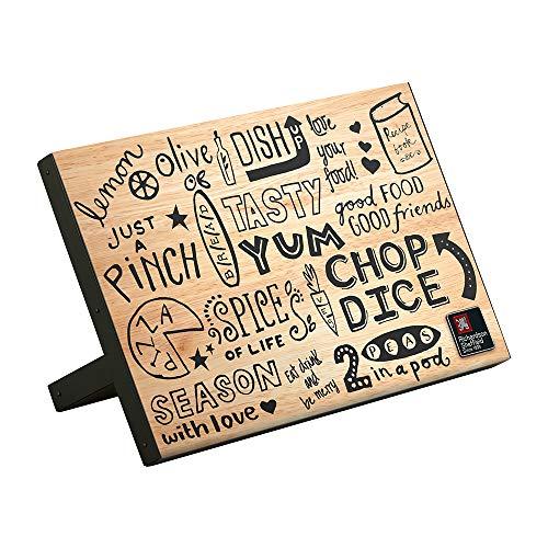 Paul Wirths messenblok magnetisch, 22,2 x 13,5 x 31,5 cm, met schuine voethouder, doodle-design, zwart gelabeld, messenmagneet, messenhouder, rubberhout, roestvrij staal, zilver/bruin
