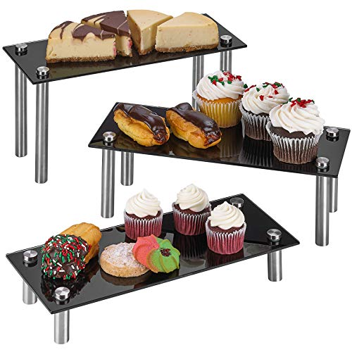 ZAFUU 3 Tier Rectangle Tempered Glass Retail Display Stand 5 x 12 Incch for Cupcakes Dessert Bags Perfume – Set of 3 Glass Display Raisers Black