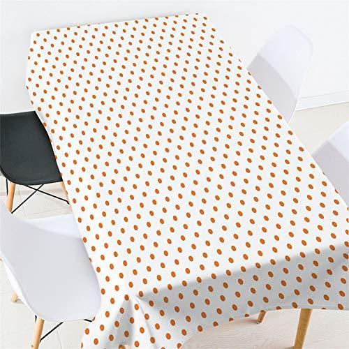 Morbuy Tischdecken Rechteckig, Geometrie 3D Drucken Tischdecke Quadratisch Wasserdicht Lotuseffekt Abwischbar Tischtuch für Küche Garten Outdoor Dekoration (Orange Polka Dots,150x210cm)